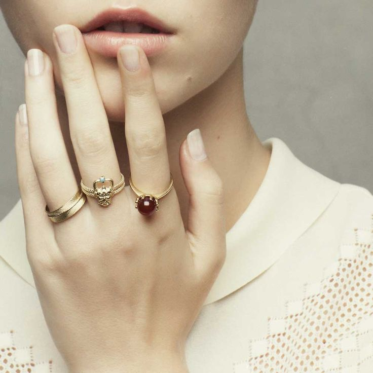 3 RINGS WITH SATYR #iosselliani #stackingrings