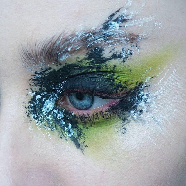 WEBSTA @ thesaraengel - 👽⭐👽⭐👽 | Products: @makeupforeverofficial black cake liner   @viseart Editorial Brights palette   white aqua body paint from #epiceffect | Brows: @artdeco_cosmetics brow gel   @narsissist Bellissima duo | #mua #makeupartist #artist #eyes #blueeyes #freckles #skin #mine #mywork #eyemakeup #green #eyeshadow #abstract #editorial #editorialmakeup #brows #lashes #viseart #makeupforever