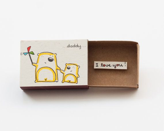 This item can be purchased in our new shop: https://www.etsy.com/shop/Shop3xuOutlet Fathers Day Card - Fathers Day gift for dad This listing is for one matchbox. This is a great alternative to a Valentine/Anniversary card. Surprise your loved ones with a cute private message hidden in these beautifully decorated matchboxes! Each item is hand made from a real matchbox(*). The designs are hand drawn, printed on paper and then hand colored in to give each individual matchbox that special…
