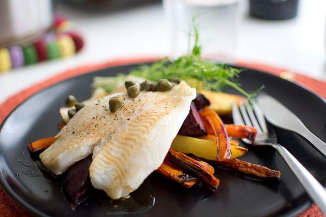 Fisk med brynt smör och kapris