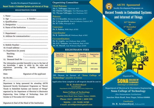 Two Weeks Recent Trends in Embedded System and Internet of Things at Sona College Salem Tamil Nadu