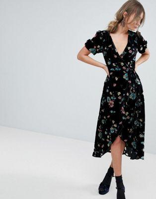 Oasis Floral Print Velvet Midi Wrap Dress