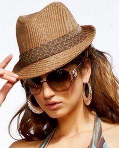 Gangster fashion brown toyo straw womens fedora hat