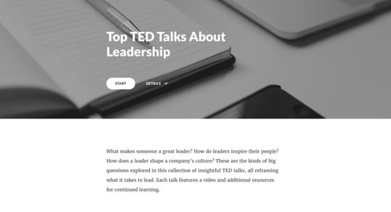 Creating a leadership training program? Check out this Rise example I created using four hand-picked TED talks on leadership. I also linked to some additional learning resources, like this nifty le...