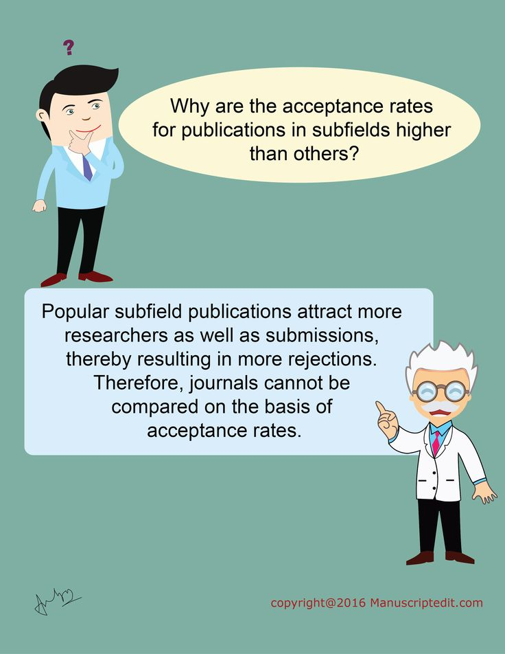 #Manuscriptedit @ Why are the acceptance rates for #publications in subfields higher than others?  Popular subfield publications attract more #researchers as well as submissions, thereby resulting in more rejections. Therefore, #journals cannot be compared on the basis of acceptance rates.  #Manuscriptedit #publication : http://bit.ly/1NvtPEX