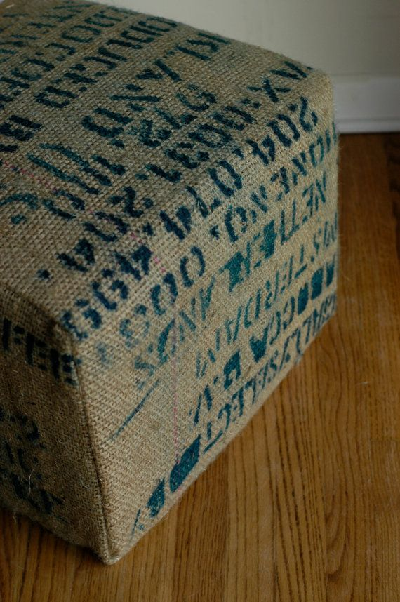 Make a burlap cover for your ottoman to add a rustic look to you room! Great idea! :)
