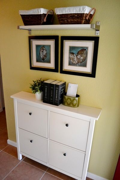 Love this ikea shoe cabinet for a narrow entryway | Decorable: Living Rooms