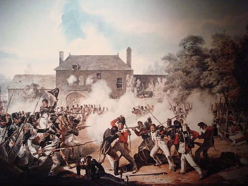 Fighting at Hougoumont during the Battle of Waterloo, June 18, 1815. Newfoundlander Job Gibbs was among the Coldstream Guards defending the farm.