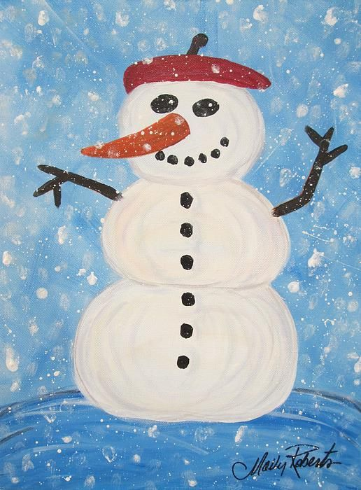 Whimsical Snowman painting