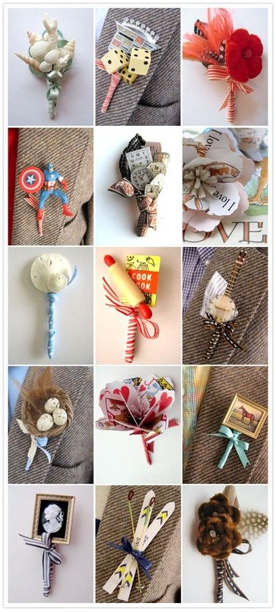 this site has a TON of Alternative Wedding Boutonnieres - for that matter, I bet wedding gawker will have a TON of links too