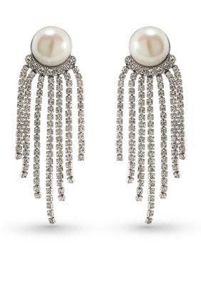 Carolee SilverPearl Silver-Tone Grand Entrance Pearl Tassel Statement Earrings