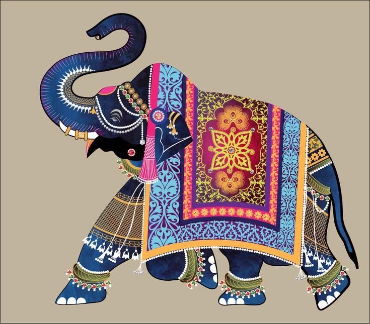 Elephant Illustration for wedding invitations; hand drawn; Indian inspired; custom design