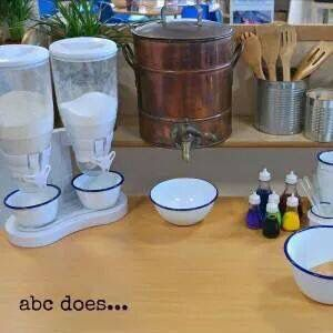 Plays dough station.   Love Alistair Bryce Clegg.   We have set up a play dough station - a little like this, this year. It is amazing how great the children are at making play dough now without adult support.