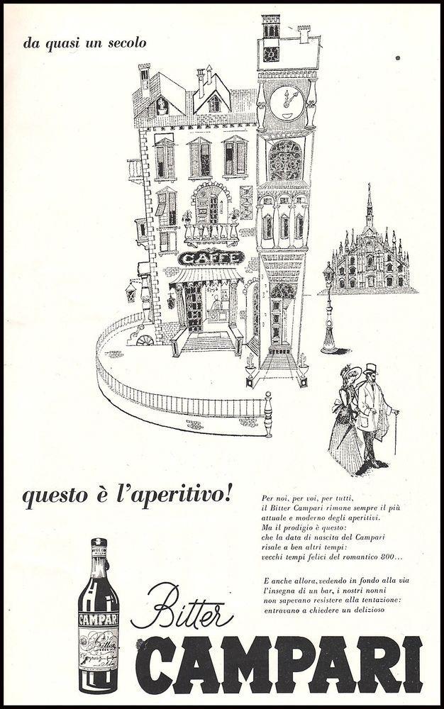 BITTER CAMPARI MILANO CITTA' CAFFE' BAR DUOMO APERITIVO 1954