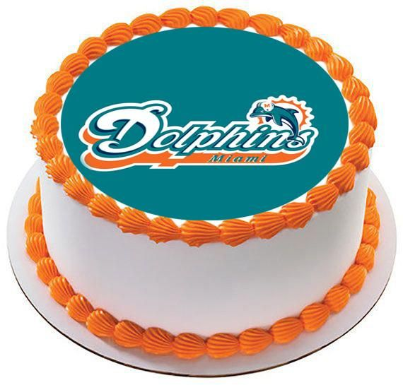 NFL Miami Dolphins Icing Edible Photo Cake Image Frosting Birthday Decoration