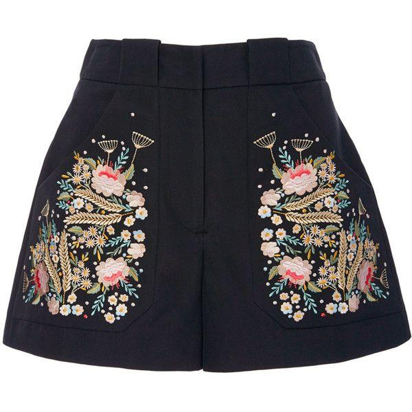 Vilshenko Olga Embroidered Shorts ($805) ❤ liked on Polyvore featuring shorts, embroidered shorts and cotton shorts
