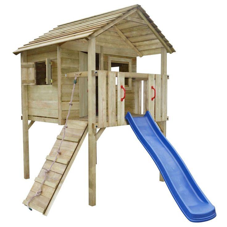 Casetta gioco da esterno bambini legno con scivolo e scala 360x255x295 cm | eBay