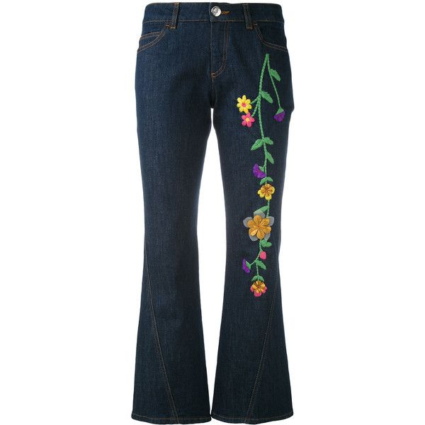 See By Chloé embroidered denim kick flare jeans ($289) ❤ liked on Polyvore featuring jeans, blue, blue denim jeans, flared jeans, embroidered jeans, embroidered denim jeans and blue jeans