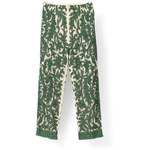 Colby Sequins Pants ($600) via Polyvore featuring pants, ganni, sequined pants, straight leg pants, green trousers, straight leg trousers and tall pants