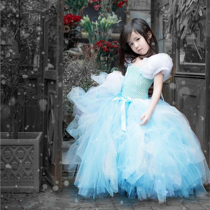 手作り子供女の子シンデレラチュチュドレスプリンセスウェディングパーティーフォーマルフラワーガールズドレス雪の女王赤ちゃんチュールページェントドレス
