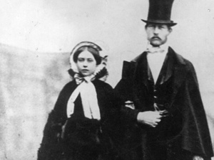 Princess Victoria and Crown Prince Friedrich Wilhelm of Prussia days before their wedding.  Victoria's parents, Queen Victoria and Prince Albert, hoped their daughter's marriage to a Prussian prince would promote good relations between England and Germany and encourage the Germans to become more democratic.  Sadly, that was not to be.