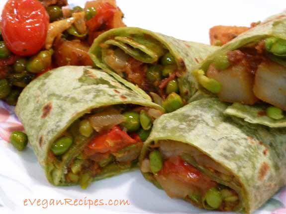 Vegan Wraps Recipes With Curried Vegetables    Read more: http://www.eveganrecipes.com/vegan-wraps-recipes-with-curried-vegetables/