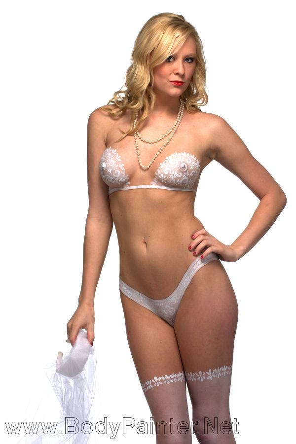 Wedding body paint lingerie