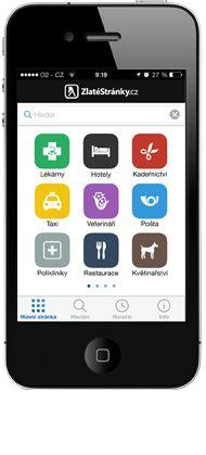 Zlaté stránky pro iPhone, Android a Windows Phone ZDARMA - www.zlatestranky.cz/pro-mobily. #Mediatelcz #UI #Smartphone #Apps #hledani