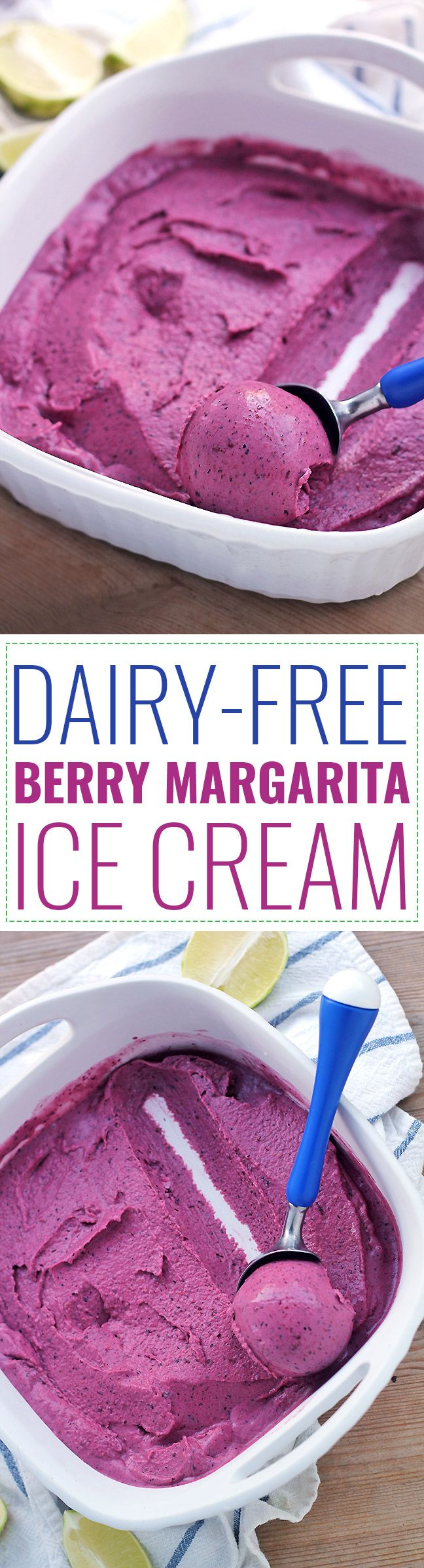 Dairy-Free Berry Margarita Ice Cream Recipe! This creamy dairy-free berry margarita ice cream is rich in antioxidants, full of healthy fats, and is a healthy way to satisfy a sugar craving!