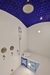 Turkish styled steam bath with rounded tiled ceiling