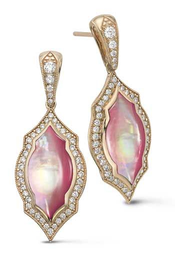 kabana earrings in 14k rose gold with pink mother of pearl and diamonds