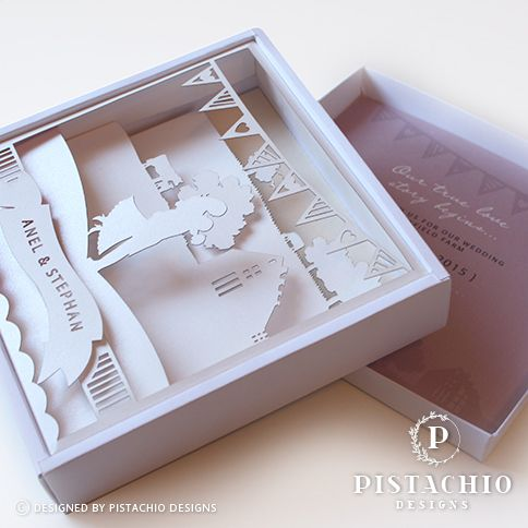 Boxed layered story wedding invitations by www.pistachiodesigns.co.za