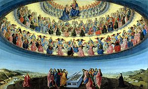 The Assumption of the Virgin by Francesco Botticini at the National Gallery London, shows three hierarchies and nine orders of angels, each with different characteristics.