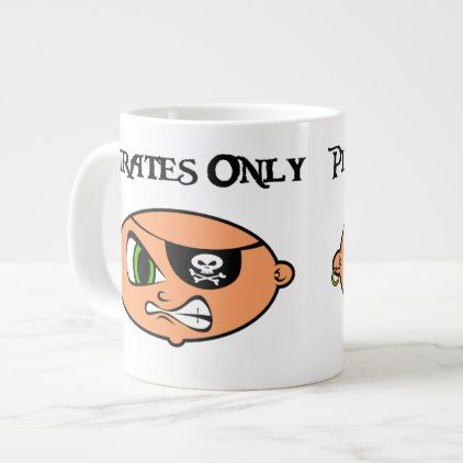 Pirates Only Angry Cartoon Face Large Coffee Mug - simple clear clean design style unique diy