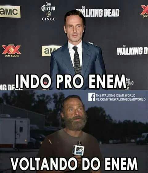 Indo pro Enem e voltando do Enem  Humor/ Humor TWD/ Humor The Walking Dead/ Memes/ Memes TWD/ Memes do Enem/Piadas