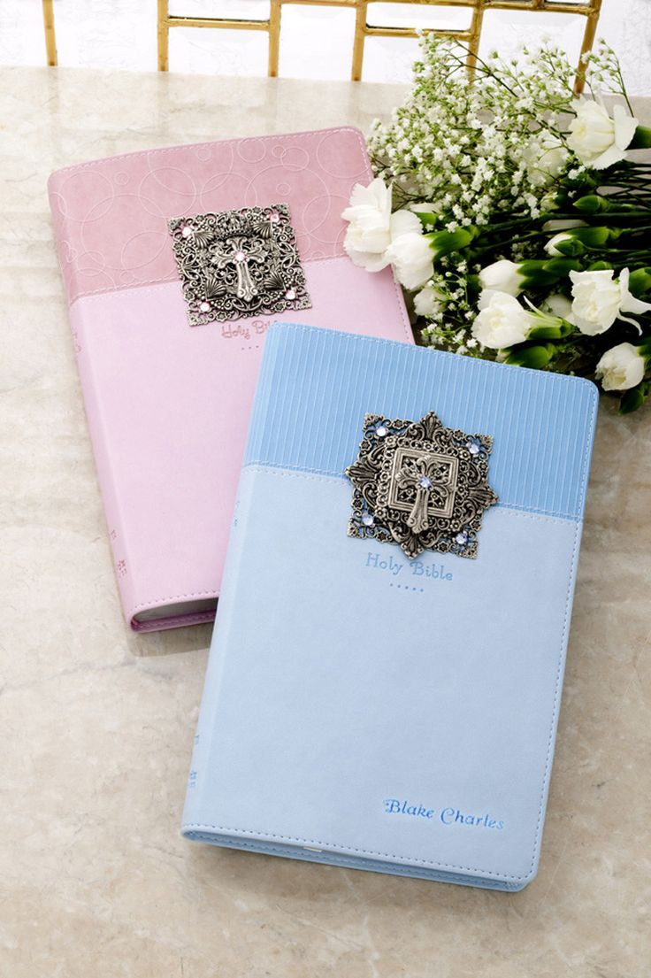 Jeweled Cross Baby Keepsake Bible NIV-Choose from White,Pink & Blue
