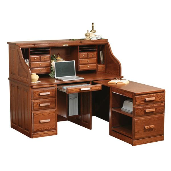 Computer Roll Top Desk With Pullout Return For The Home