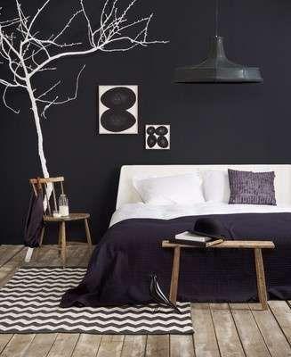 Slaapkamer zwart wit en hout