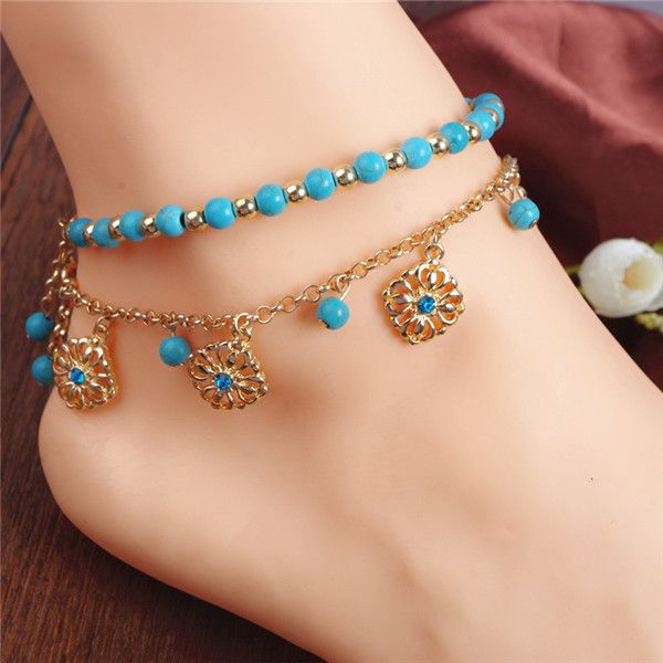 New Vintage Women Ankle Bracelets Bohemian Foot Jewelry Turquoise Beads Alloy Anklets 1PC 1K3021