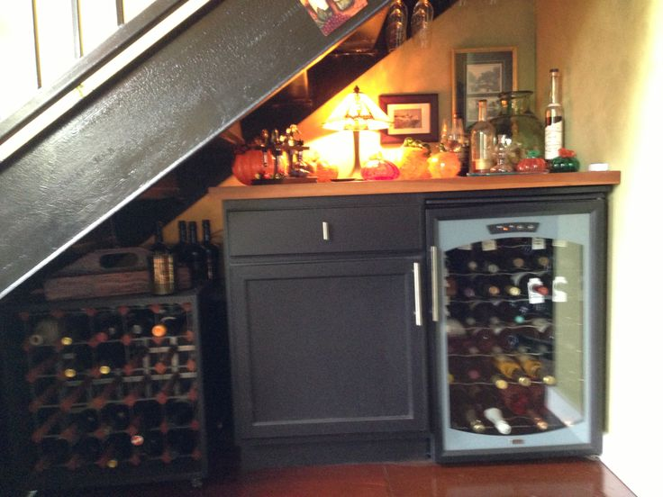 Wine Bar Under My Stairs. Used A Stock Base Cabinet Which I Painted With  Black