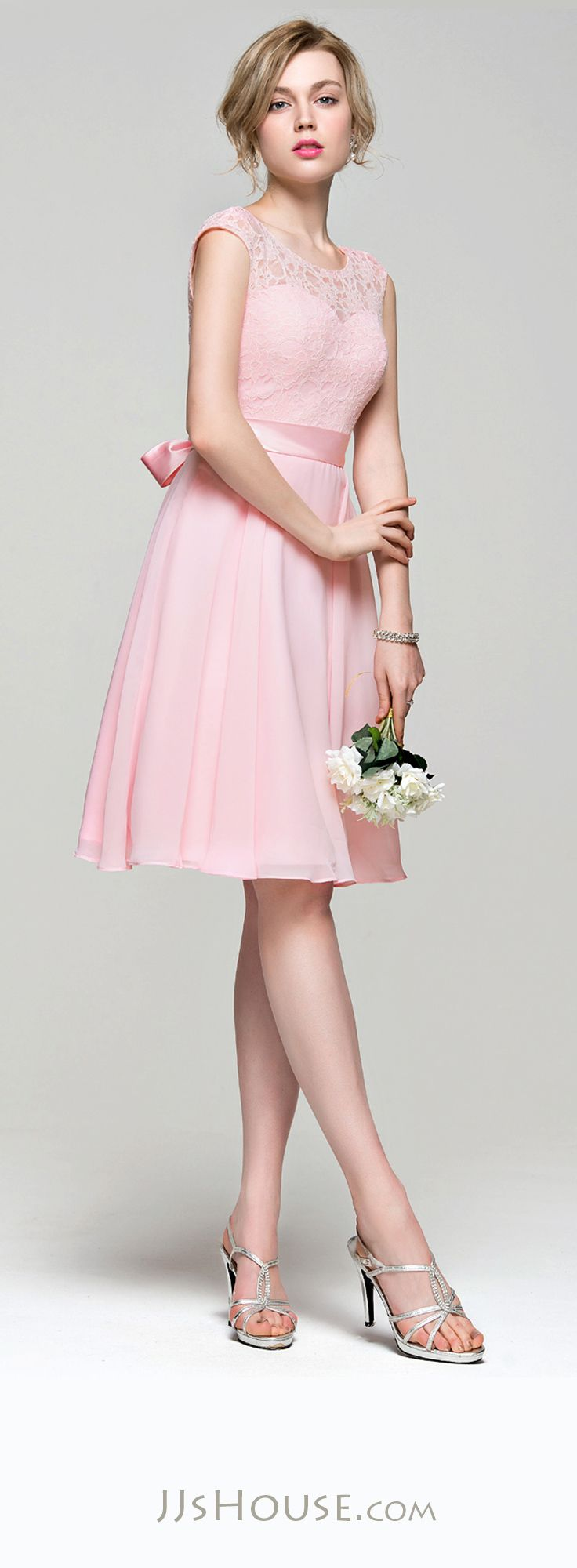 Best 25 knee length bridesmaid dresses ideas on pinterest a lineprincess scoop neck knee length chiffon lace bridesmaid dress with bow ombrellifo Choice Image