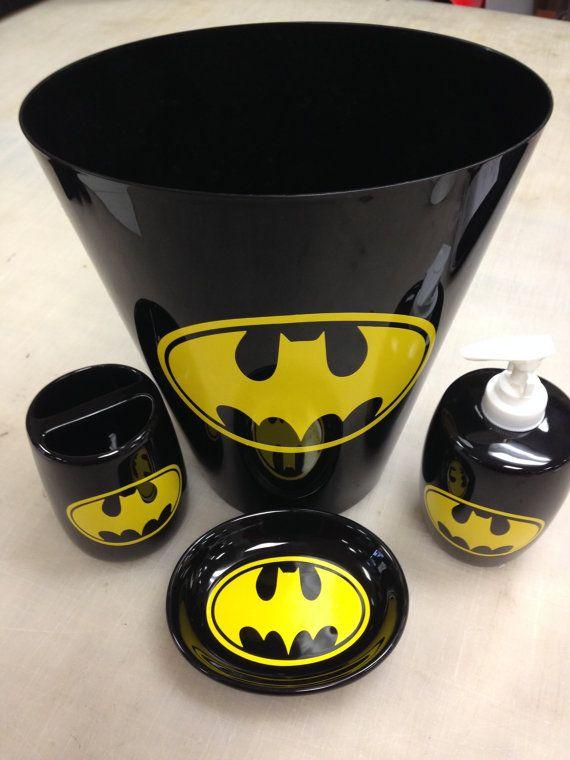 Beautiful Batman Bathroom Soap Holder Toothbrush Holder Trashcan By VSLSigns, $32.00