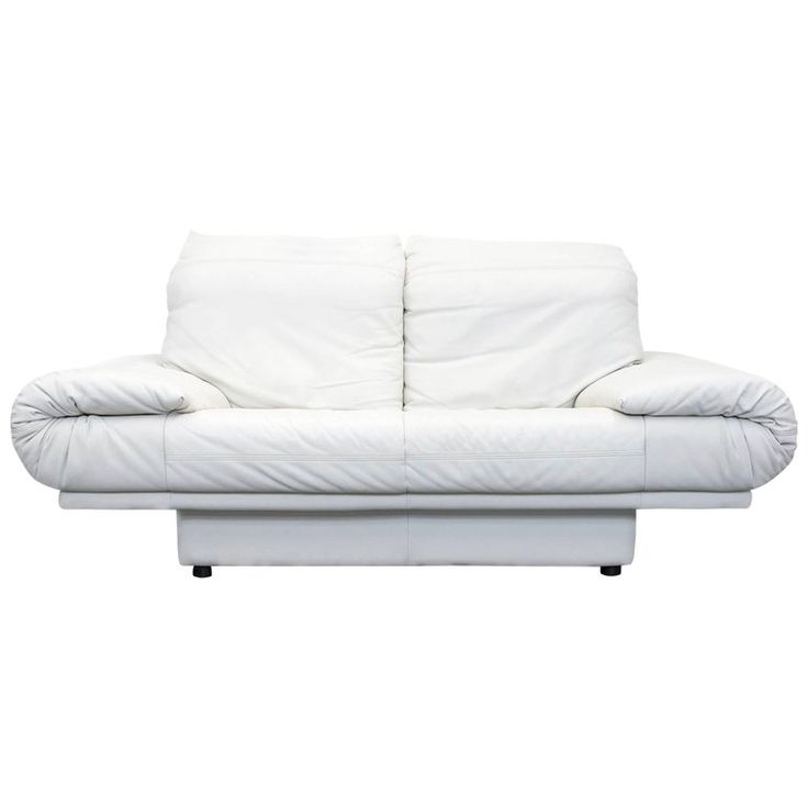 Rolf Benz Designer Sofa Leather Crème White Two Seat Couch Modern