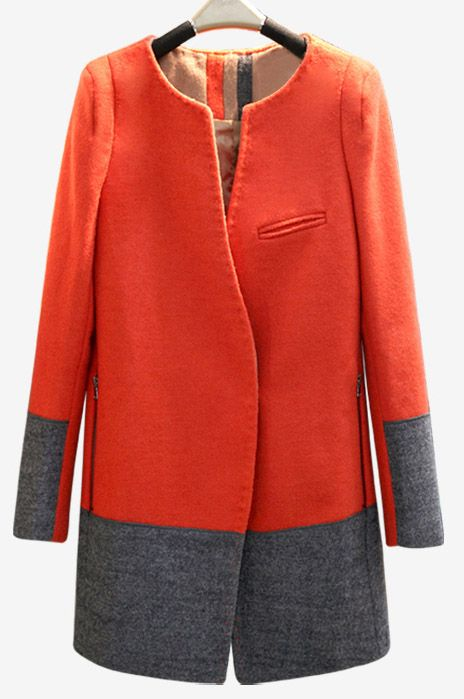 Orange Grey Long Sleeve Pockets Zip Woolen Coat - Sheinside.com