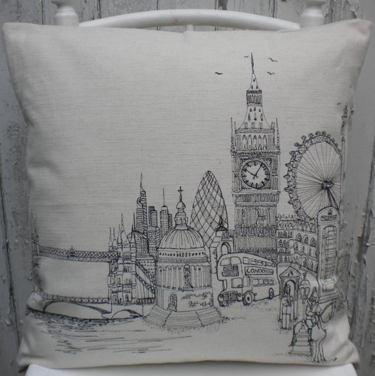 Lara Sparks embroidery cushion, London town!