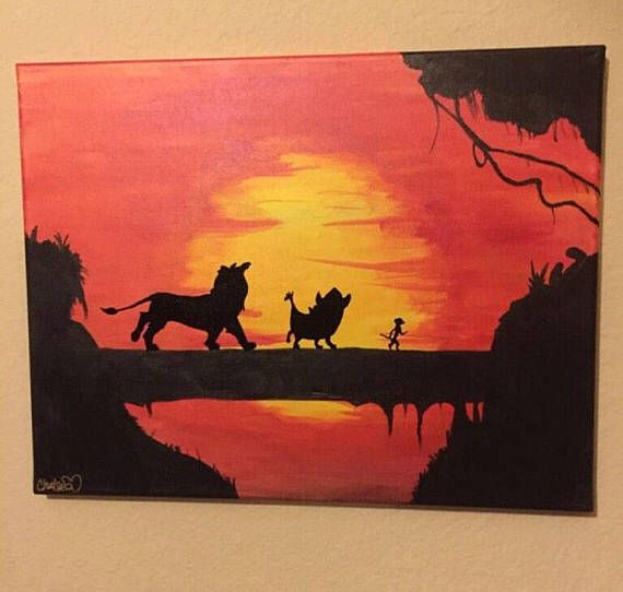 Made To Order Since Mto May Slightly Differ From Image Above Signed And Dated On Back Please Disney Canvas Paintings Disney Canvas Art Sunset Canvas Painting