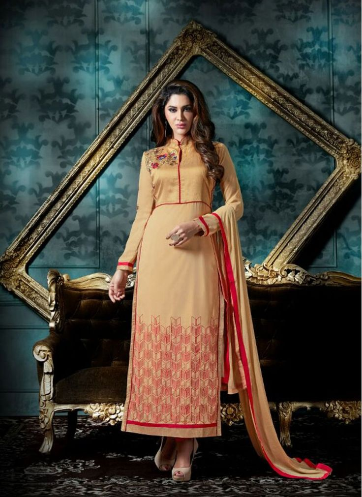 Preferable Beige Sentoon Straight Pakistani Salwar Kameez