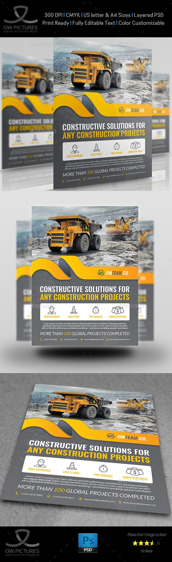 Construction Flyer Template PSD. Download here: https://graphicriver.net/item/construction-flyer-vol5/17571847?ref=ksioks