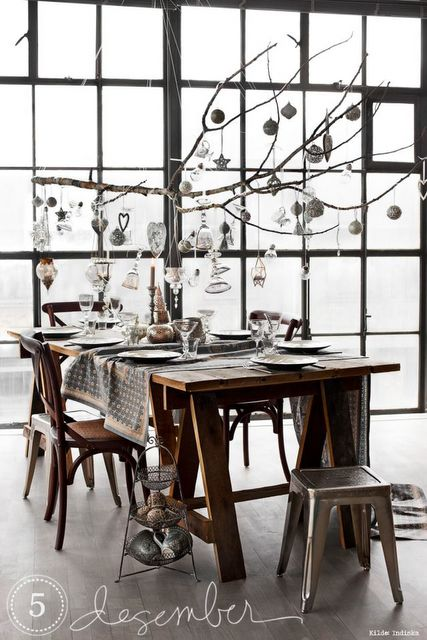 Christmas inspiration -  table and love those dang factory windows