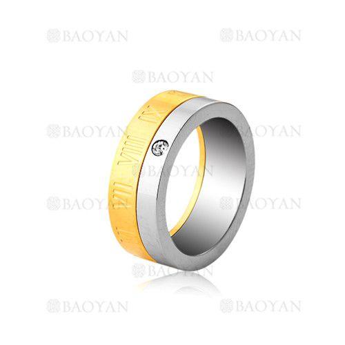 anillo con numero romano en acero de dorado-SSRGG802002